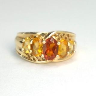 Винтажное золотое кольцо с цитринами