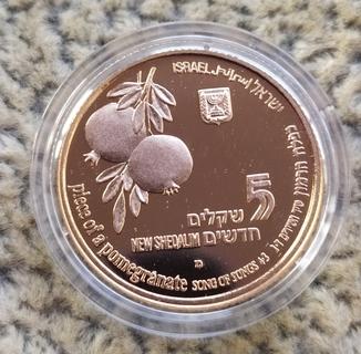5 шекелей 1997г.Израиль.Золото.