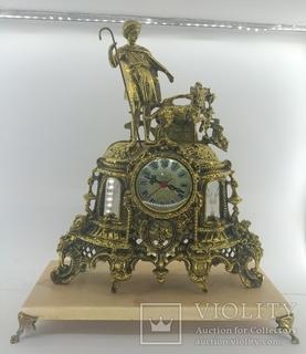 Бронзовые винтажные часы на мраморной подставке арт. 029