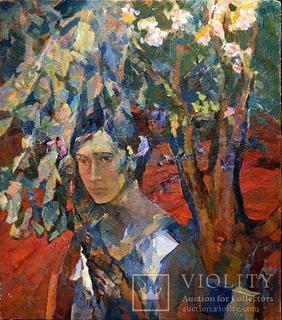 В вишневом саду 84.5х74.5 холст\масло Шаврин В.А. (1936-1990)