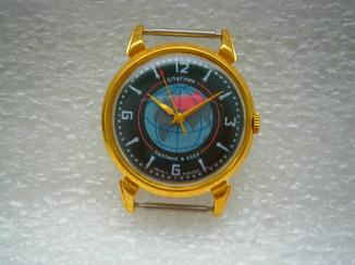 Часы Спутник в позолоте.