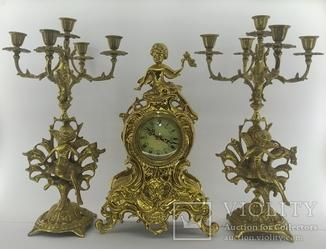 Бронзовые винтажные часы с подсвечниками арт. 038