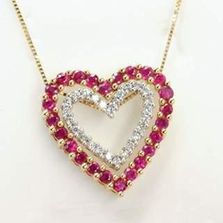 """Золотая подвеска """"Два сердца"""" с натуральными рубинами и бриллиантами"""