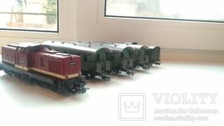 Железная дорога  Тепловоз BR  110 Piko +4 Вагона   HO 1:87 16,5 mm