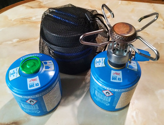 Походный набор : Газовая плитка, Кастрюля-кружка, Картридж газовый запасной.