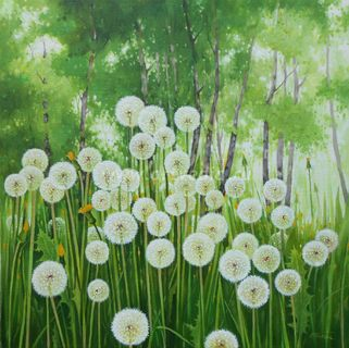 """Весенний пейзаж с одуванчиками."" 60х60см, 2016 г., худ. С. Кольба"