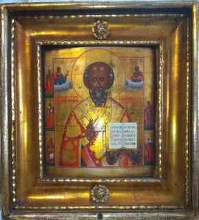 Старообрядческая икона св. Николая Чудотворца нач 19 в.