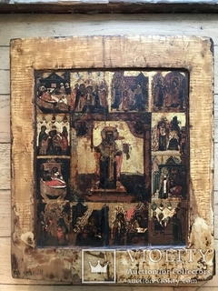 Икона Святой Николай с житием, рубеж 17/18 в.