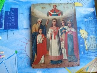 Старинная икона Покрова 290*210*15мм
