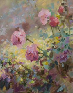 """Пейзаж """"Розы в саду"""" 35х45 масло"""