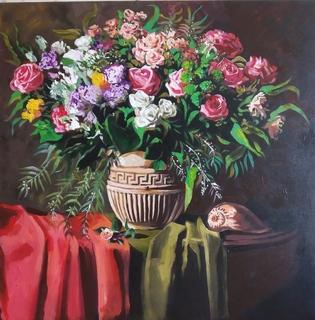 Натюрморт с цветами,2020,холст,акрил,на подрамнике60 на 60, торцы записаны. Копия.