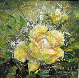 Картина «Лучистая роза». Художник Ellen ORRO  холст/акрил,  25.5х25.5, 2001 г.