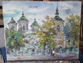 """Натюрморт """"Киевская церковь"""",холст,масло"""