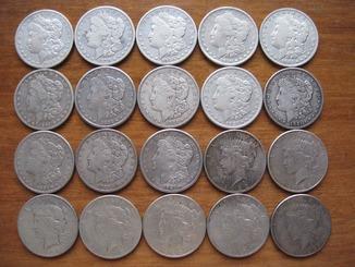 20 серебряных долларов США