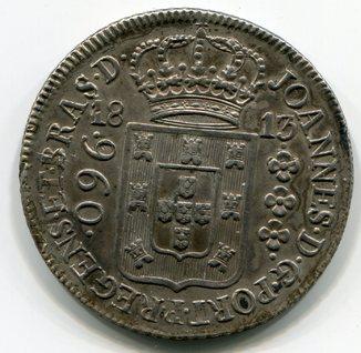 Португальская  Бразилия 960 рейсов 1813 г. серебро