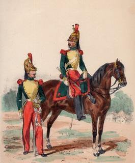 Старинная цветная литография. Драгуны. 1850 год. (34 на 26 см.)