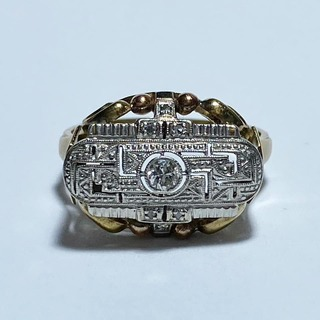Кольцо с бриллиантом и алмазами. Ар Деко