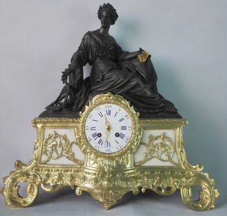 Большие 44х43 см французские каминные часы XIX века