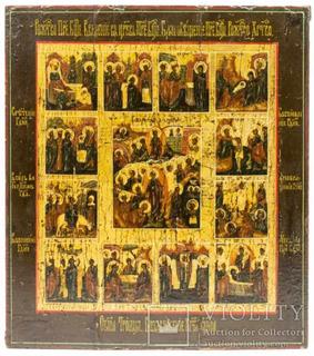 Икона Воскресение Христово и 12 праздников.