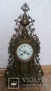 Антикварные каминные часы.Бронза.