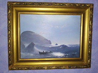Старая картина. Море. Автор S.K. Масло. Картон? 22х16 см.