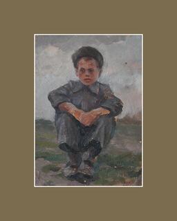 Сидящий мальчик, этюд, картон, масло, 1947 г., Воробьев Л.