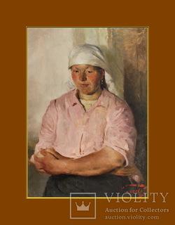 Горохов Игорь Иванович (1931-2008), портрет колхозницы, 1953г.