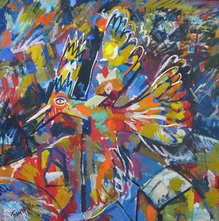 """""""Жар Птица"""" худ.В.Бауэр 1989 г. 100х100 см. с аукциона"""