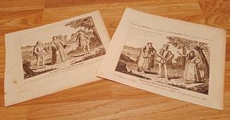 2 гравюры 18 века. Английские костюмы. Оригинал
