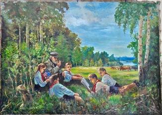 """Пионеры на лугу "" 100- 150 см . холст, масло"