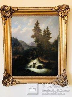 """Горная река"" худ. Кoken Edmund 1814-1872 г"