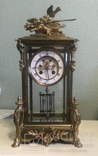 Каминные часы , Франция , барокко 19 век, ртутный маятник