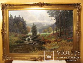 """Картина """"Олени у горной реки"""" A. Motsch"""