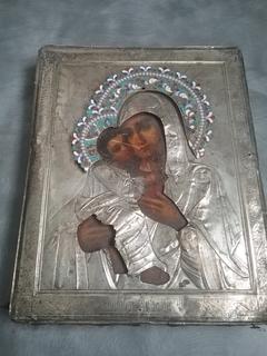Икона Богородицы. Серебро, эмаль