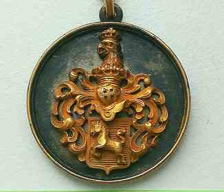 Старинный золотой кулон, медальон, герб. Золото, серебро