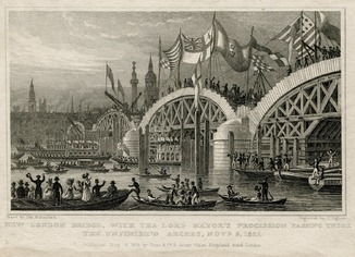 Старинная гравюра. 1827. Открытие Нового Моста в Лондоне
