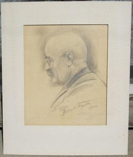 Портрет Новикова-Прибоя с его афтографом. (1936 г., худ. А.И.Быстряков).