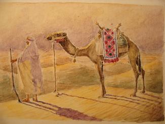 Араб верблюд пустыня восход солнца Восток