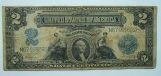2 доллара 1899, серебряный сертификат