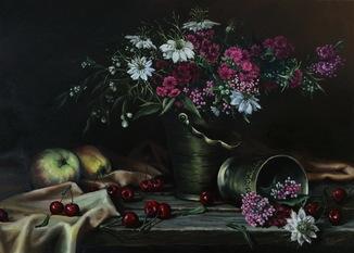 """Натюрморт с цветами и фруктами"" масло, холст 50х70см"