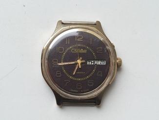 Часы Слава позолота Аu (коричневый циферблат)