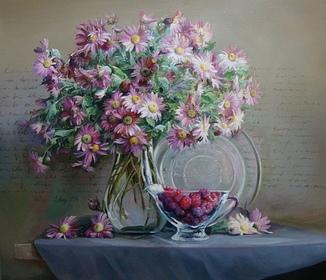 """""""Квіти"""" 60х70 см;полотно,олія, Півень С.В."""