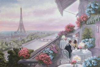 Картина Вечер в Париже, 60х40 см., Живопись.