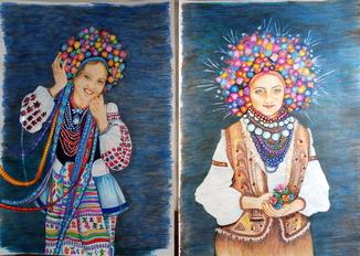 """Етнокартины диптих """"Украинки"""""""