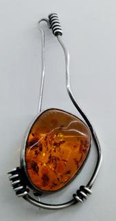 Брошь янтарь серебро 12,23 грамм, 8см, винтаж. Клеймо. Натуральный камень.