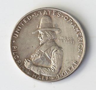 1/2 доллара ( 50 центов ) США 1920 г, Пилигрим, серебро