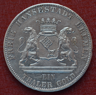 1 Талер 1865 г, Бремен. Второй Немецкий Фестиваль по Стрельбе.