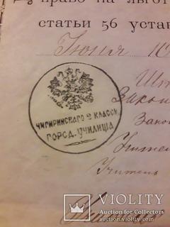 Свидетельство Чигирин 1884 год печать Городское училище бланк Дитятковского т-ва 5