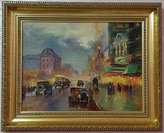 Картина Сергей Гутин городской пейзаж холст масло итальянский багет на дереве