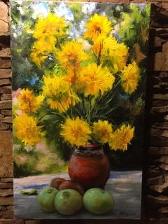 Масло холст 80/49 Летние цветочки